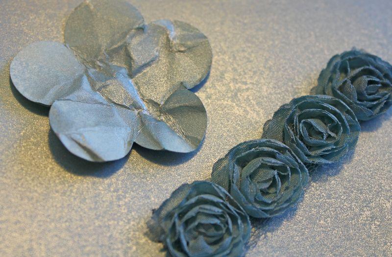 Indigo flower trim with platinum