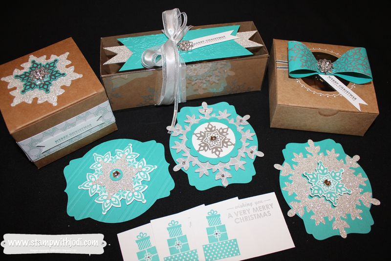Blue and Silver Boxes and Tags
